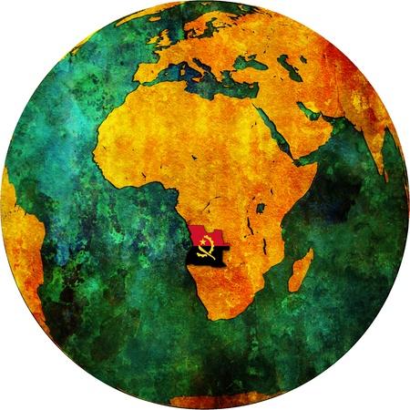 map of angola: Angola territory and flag on map of globe