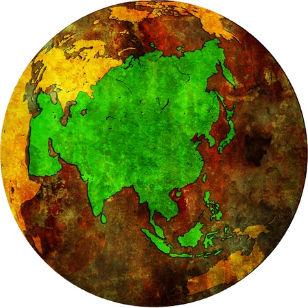 orthographic: asia territory on map of globe (orthographic projection)