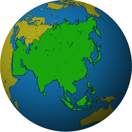 asia territory on map of globe (orthographic projection) photo