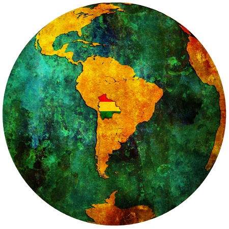 bolivia territory with flag on map of globe photo