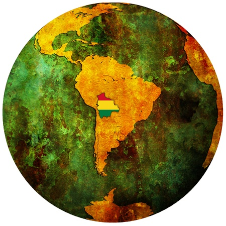 bolivia territory with flag on map of globe Stock Photo - 8311765
