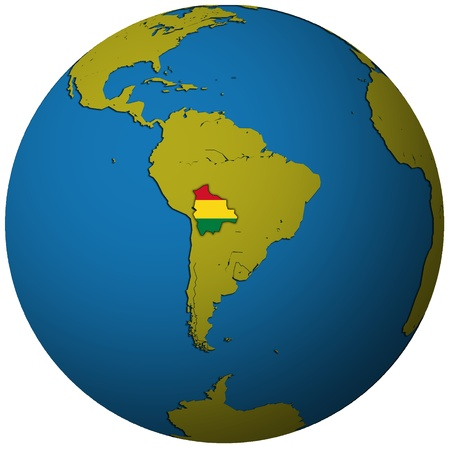 bolivia territory with flag on map of globe Stock Photo - 8311750