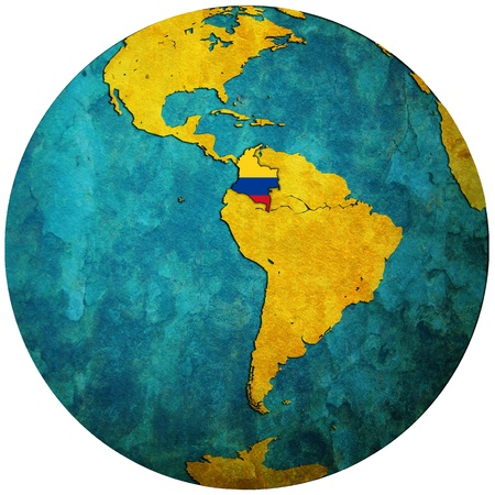 colombia territory with flag on map of globe photo