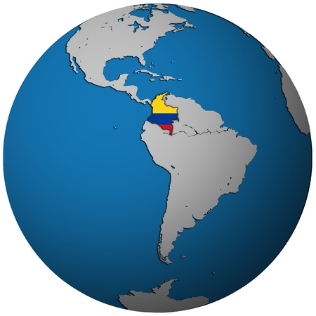 colombia territory with flag on map of globe