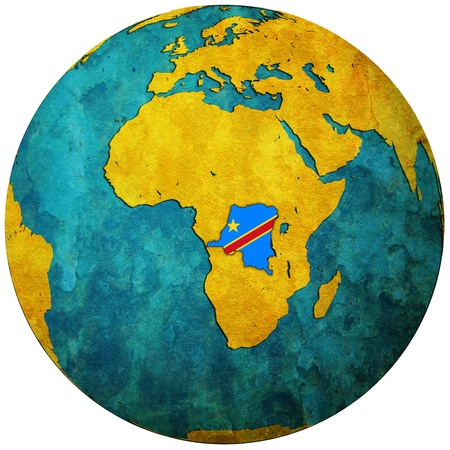 Congo: congo territory with flag on map of globe