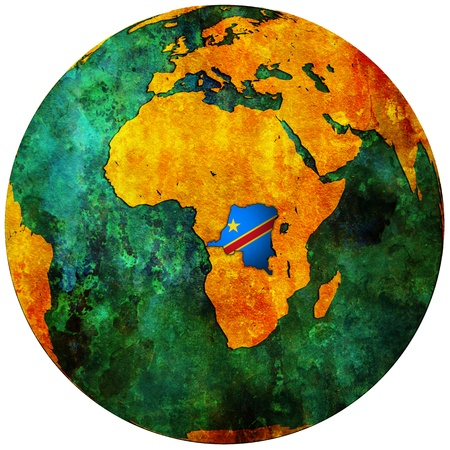 congo territory with flag on map of globe photo