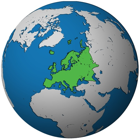 territories: europe territory on map of globe(orthographic projection)