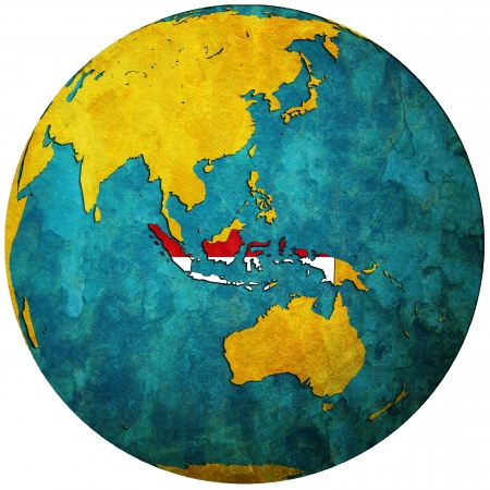 territory: indonesia territory with flag on map of globe Stock Photo
