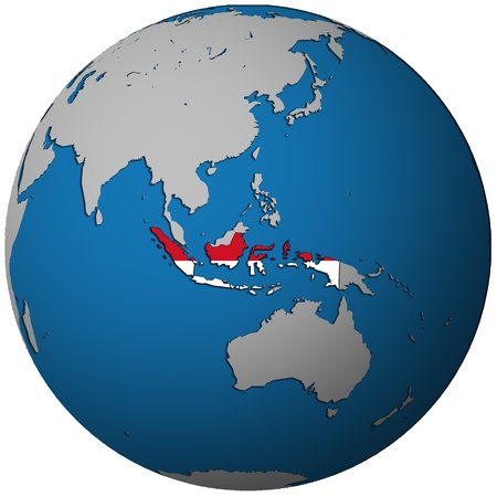 indonesia territory with flag on map of globe photo