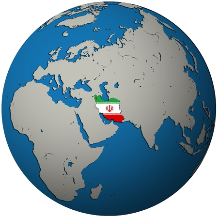 iran territory with flag on map of globe