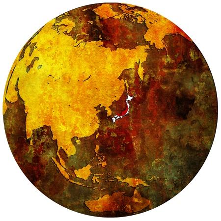 territorio de Jap�n con la bandera en el mapa del mundo Foto de archivo - 8926289