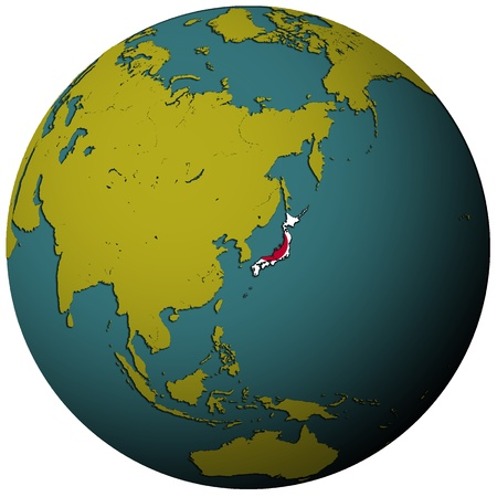 japan territory with flag on map of globe photo