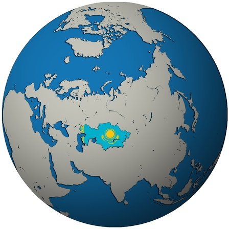 kazakhstan territory with flag on map of globe Stock Photo