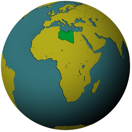 libya territory with flag on map of globe Stock Photo - 9056008