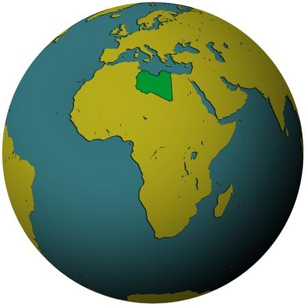 libya territory with flag on map of globe Stock Photo - 9056008