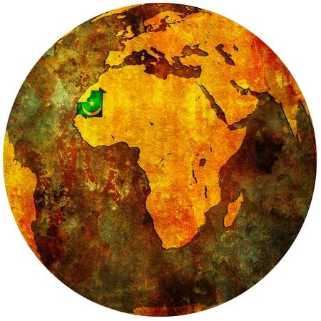 mauritania territory with flag on map of globe photo