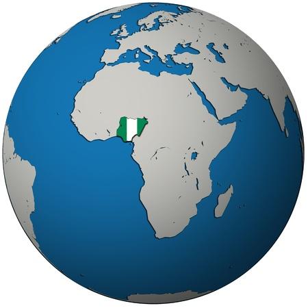 nigeria: nigeria territory with flag on map of globe