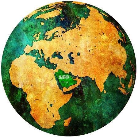 orthographic: saudi arabia territory with flag on map of globe Stock Photo