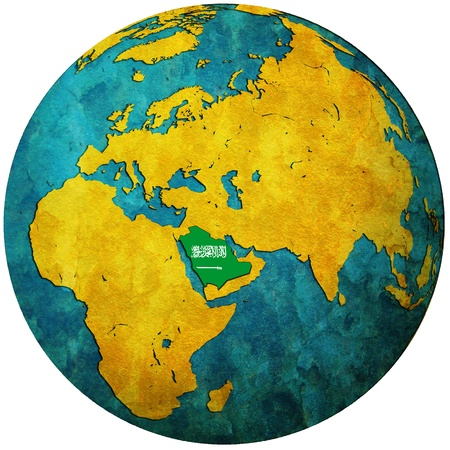 saudi arabia territory with flag on map of globe photo