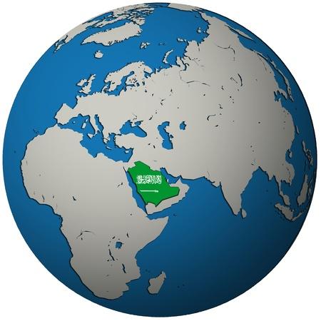 saudi arabia territory with flag on map of globe 写真素材