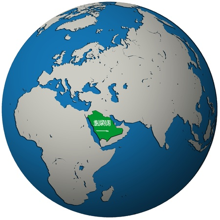 saudi arabia territory with flag on map of globe Stock Photo