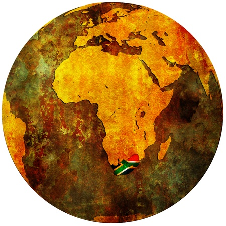 south africa territory with flag on map of globe Foto de archivo