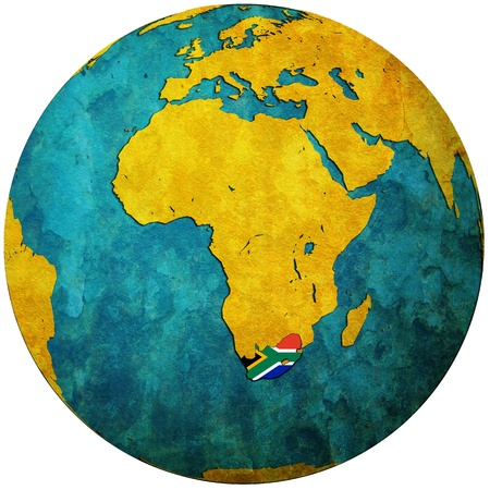 cartina africa: territorio del sud africa con bandiera sulla mappa del globo Archivio Fotografico