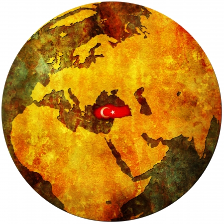 turkey territory with flag on map of globe Stock Photo - 9194669