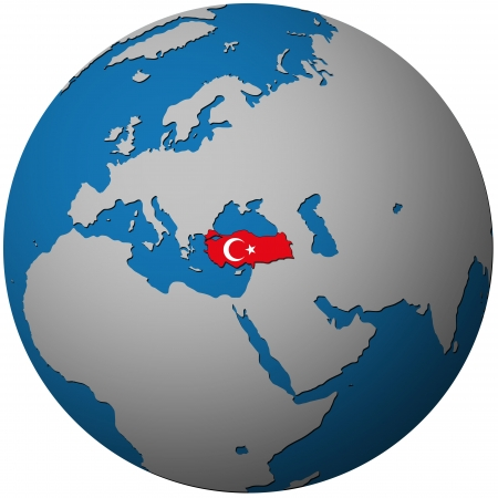 turkey istanbul: turkey territory with flag on map of globe