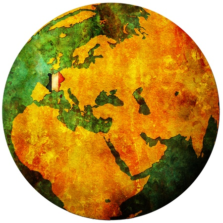 france territory with flag on map of globe Stock Photo - 9247854