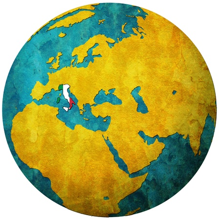 italy territory with flag on map of globe Stock Photo - 9247821