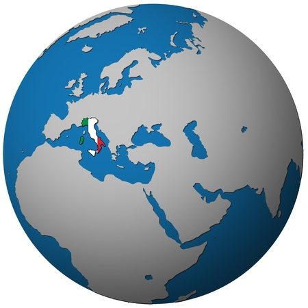 territories: italy territory with flag on map of globe
