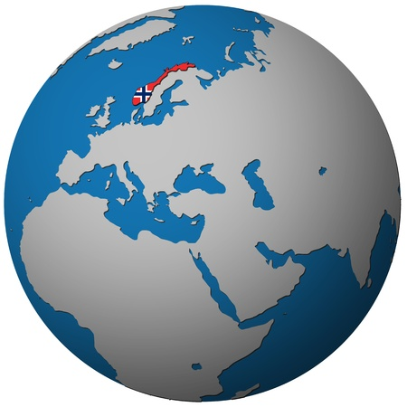 norway territory with flag on map of globe photo
