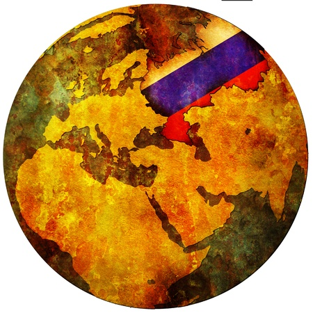 russia territory with flag on map of globe photo