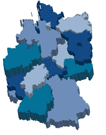 administration map of germany with 3d regions in cold colors