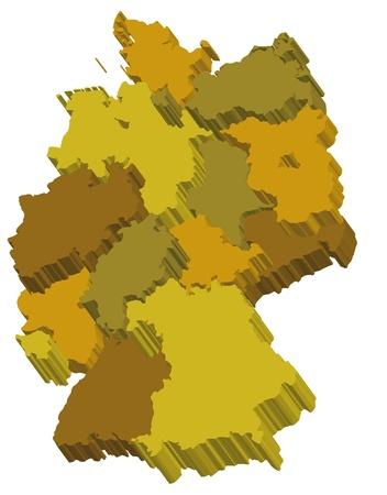 deutschland karte: Administration Deutschlandkarte mit 3d Regionen in Earthtone, warmen Farben