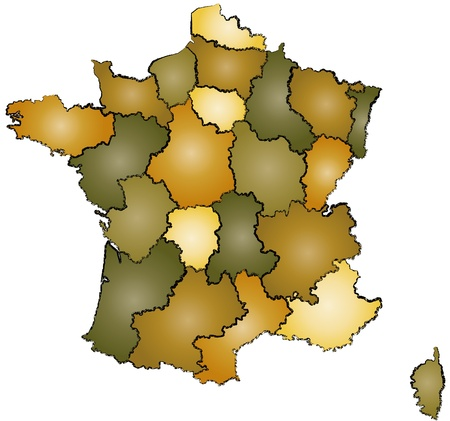 map wine: administration map of france with sketch outlines and gradients