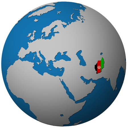 afghanistan flag: afghanistan territory with flag on map of globe isolated over white with path Stock Photo