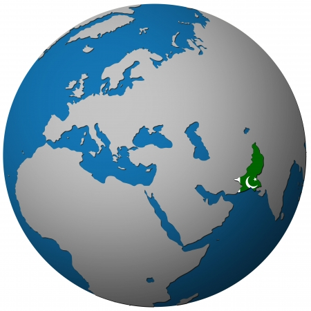 pakistan flag: pakistan territory with flag on map of globe isolated over white with path Stock Photo