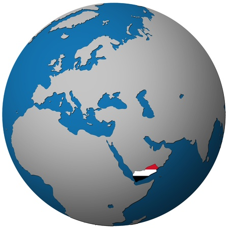 yemen: yemen territory with flag on map of globe isolated over white with path