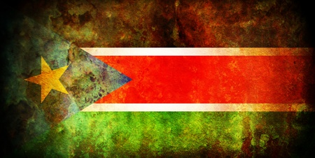 south sudan: vintage south sudan very old flag with wall texture