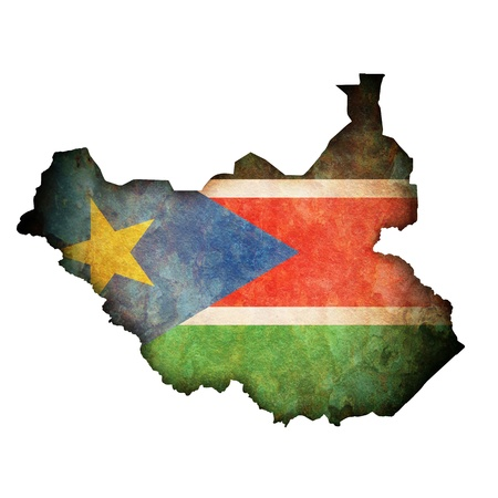 sudan: south sudan territory with flag on map of globe Stock Photo