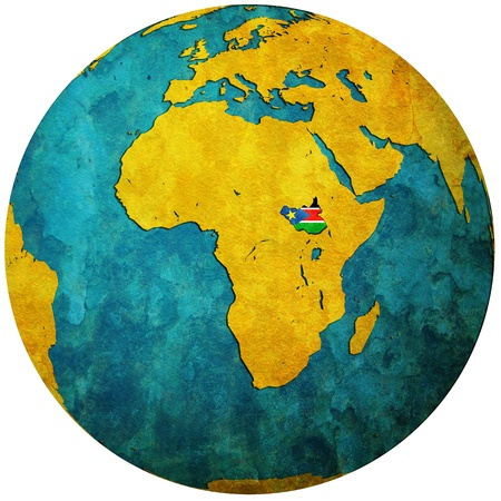 south sudan: south sudan territory with flag on map of globe Stock Photo
