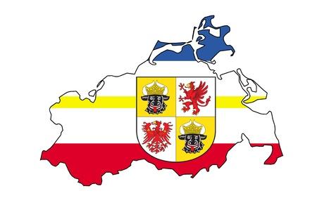 mecklenburg  western pomerania: isolated map of mecklenburg western pomerania region with flag Stock Photo