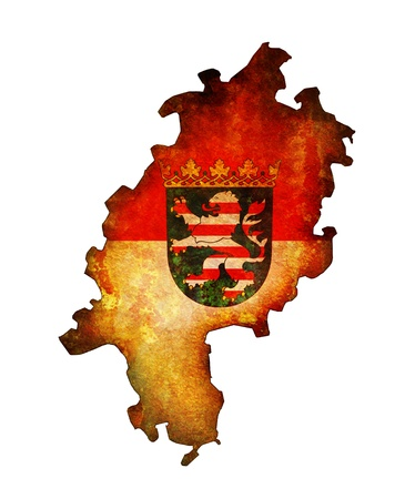 hessen: isolated map of hessen region with flag