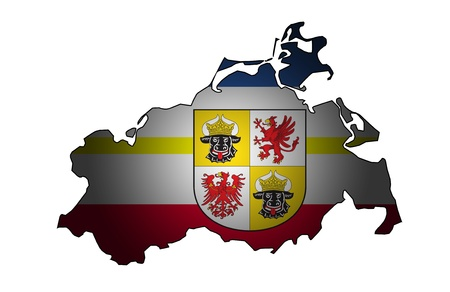 mecklenburg: isolated map of mecklenburg western pomerania region with flag Stock Photo