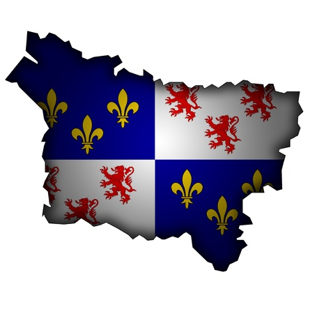 old map with flag of department, administrative region of france called picardy Imagens