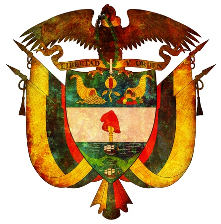 colombia: old isolated over white coat of arms of colombia Stock Photo