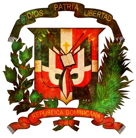 old isolated over white coat of arms of dominican republic photo