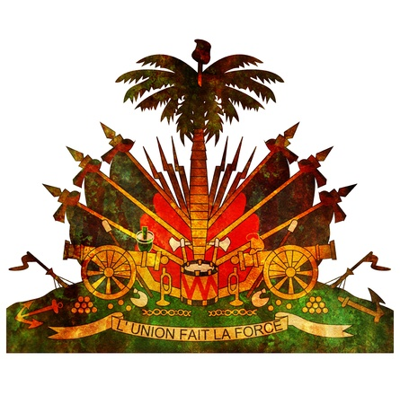 haiti: old isolated over white coat of arms of haiti Stock Photo